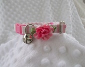 Pink  Cat  Collar Breakaway Collar with  Kitty  Bell Custom Made
