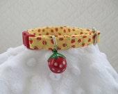 Yellow Strawberry Cat Collar with strawberry Bell  Cat  Breakaway Collar Custom Made