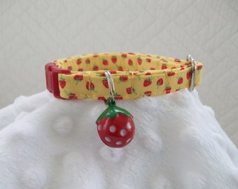 Yellow Strawberry Cat Collar with strawberry Bell  Cat  Breakaway Collar Custom Made
