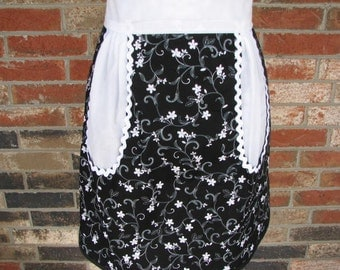 Special Price for this Black and White Flower Half Apron