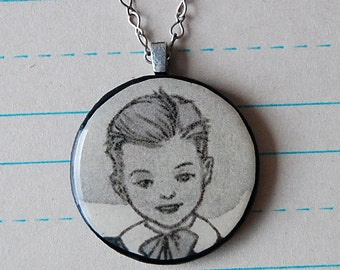 Pretty Boy Handmade Necklace with Round Wood Pendant of Vintage Illustration of Victorian School Child.