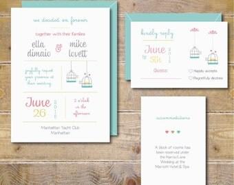 Wedding Invitations. Wedding Invitation. Wedding Invites. Invitation Set. Love Bird Invitations.  - Love Birds Wedding Invites