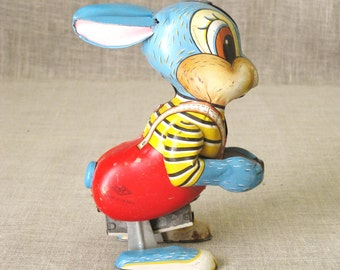 Antique Wind Up Tin Toy Rabbit, Easter Bunny, Mid-Century, Vintage Japan, Metal Toys, Japanese, Animals, Key, Mechanical, Moving