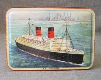 Tin , Cunard ,  Bensons Candy Tin , Queen Mary , Cruise Ship , Candy Tin , Ship , Transportation , Souvenir , Tin Box , Queen Mary Souvenir