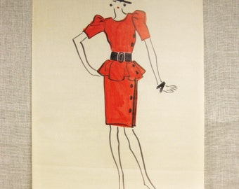 Fashion Illustration Pedro Barrios Womens Wear Daily Original Fashion Drawings on Vellum - Vintage Art Gallery