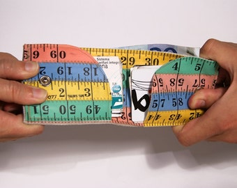 Multicolored Tape Measure Wallet - Blue/Yellow/Green/Pink  (sewn upcycled vinyl)