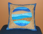 Quilted Pillow Cover -- Porthole Blue Backing