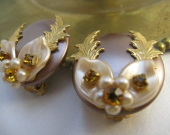 Vintage 50s Leru Signed Earrings with Amber Rhinestones & Goldtone Vines on Pearlescent Lucite, Clip Style
