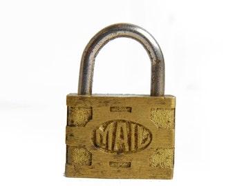 Vintage Brass Mail Lock, Padlock E1541
