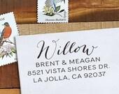 Custom Address Stamp - Calligraphy Stamp - Self Inking  - wedding stamp - housewarming gift - Willow