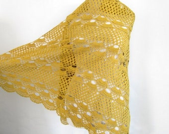 Mustard shawl / Women accessory / handmade gift / woman shawl / fashion accessories / cotton shawl