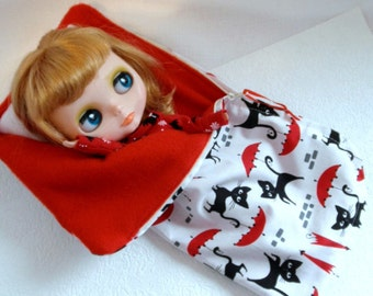 ZIPPERED Sleeping Bag  CATS 4 pc Blythe Barbie Pullip many more Fashion dolls