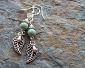 Silver leaf Earrings, dangling leaves, minty turquoise,  cute earrings, woodland earrings, silver and mint, sterling ear wires, LE2