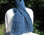 Blue Neck Warmer, Unisex Scarf with Slit, Dark Blue Keyhole Scarf, Dark Blue and Turquoise Slit Scarf, Gift for Mom or Dad for Winter