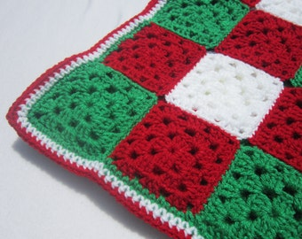 Crochet Christmas Baby Afghan, Granny Square Blanket, Red Green and White Gingham Infant Afghan, Baby Shower Gift for December Baby
