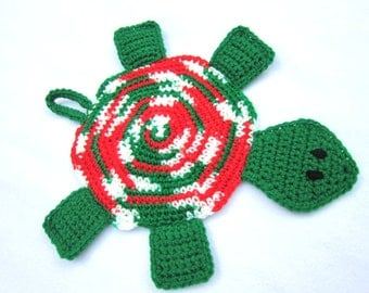 Turtle Hot Pad Crocheted Christmas Colors Pot Holder
