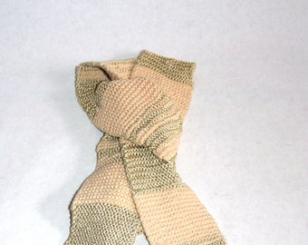 Hand Knit Skinny Scarf Cream & Gold Stripes