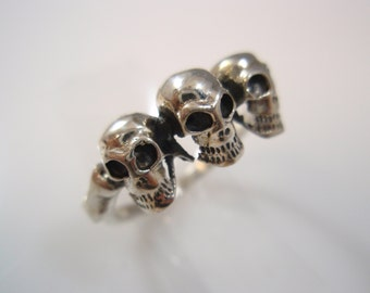 Three skull  punk 1% er  outlaw biker ring  sterling silver 925