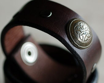 Hand Fabricated Celtic Knot Nickel Riveted on Brown Leather Cuff