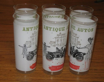 Vintage Set 6 Antique Automobile Packard Southern Belle Tumblers Water Glasses