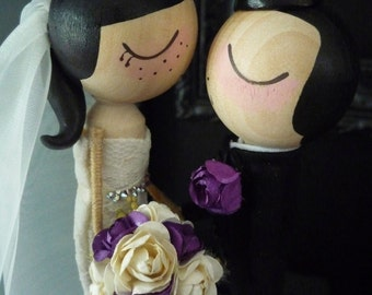 Wedding Cake Topper with Custom Wedding Dress in Kissing Pose- Custom Keepsake by MilkTea