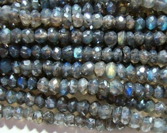 Pretty Dark Flashing Blue Green Gold Mystic LABRADORITE Micro Faceted Rondelle, SALE - Full Strand - 3-3.5mm