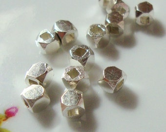 925 Sterling Silver Faceted Cube Spacers, 20 pcs, 3x3mm, BALI Artisan