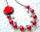 Flower Necklace Red Necklace Romantic Wedding Jewelry Red Rose Necklace Red Bridesmaid Necklace Red Jewelry Bridesmaid Gift Red Pearls