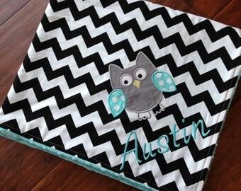 Personalized Baby Blanket- Minky Baby Blanket- Chevron Blanket- Owl Applique Baby Blanket- Custom Blanket-