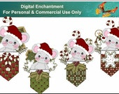 Instant Download Christmas Mouse Mice Pockets Candycanes  Digital Clipart For Gift Tags, Greeting Cards, Labels,Printables
