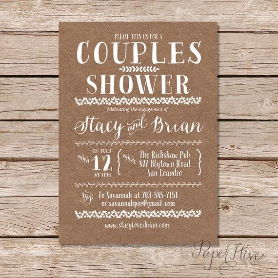 Couples Shower Invitation / Kraft Paper Background Invitations
