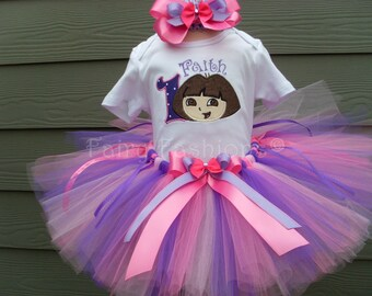 Custom tutus.DORA PURPLE PUNCH tutu set..pink and purple..birthday, tutu set, size 3,6,9,12,18,24 months and 2T,3T,4T,5T,6T,costume,dress up