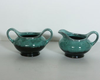 vintage canada evangeline cream and sugar in teal and dark brown