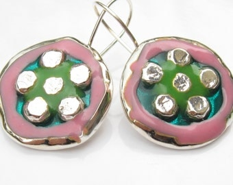 Colorful Earrings.Dangle earrings.Sterling Silver & Resin Earrings.Mosaic Flower Silver Earrings.Mosiaic Earrings.Israeli jewelry .925