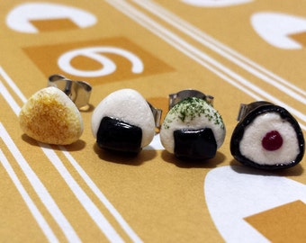 Onigiri Rice Ball Sushi Stud Earrings - Four Pairs - Tiny Food Jewelry