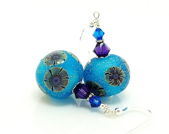 Blue Purple Sparkle Earrings, Lampwork Earrings, Glass Earrings, Ocean Earrings, Beach Earrings, Beach Jewelry, Beadwork Earrings