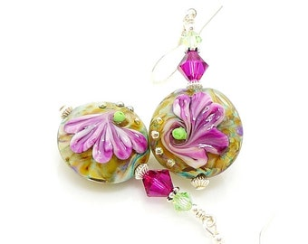 Hot Pink Floral Earrings, Lampwork Earrings, Flower Earrings, Glass Earrings, Glass Bead Earrings, Beadwork Earrings, Lampwork Jewelry