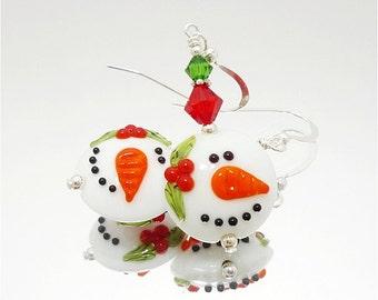 Snowman Earrings, Christmas Earrings, Lampwork Earrings, Glass Bead Earrings, Beadwork Earrings, Whimsical Earrings, Snowman Jewelry
