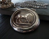 Horse Wax Seal Necklace. Wax Seal Jewelry. Fine Silver Pendant. Equestrian Jewelry. Equestrian Necklace