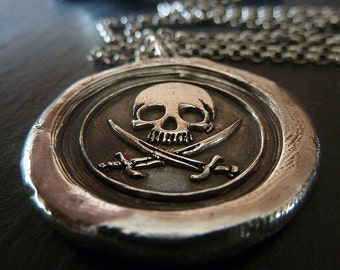 Pirate Skull Wax Seal Necklace. Fine Silver Pirate Pendant. Jolly Rogers Wax Seal Jewelry