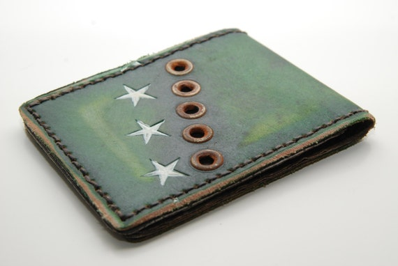 Handmade Wallet, Leather Wallet, The Standard Issue - Mens Leather Wallet - Green with Stars - Military styled  Bi Fold
