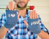 Heart Knit Gloves, Valentines Day Gift, Men Fingerless Gloves,I Love You, Blue Men Gloves, Arm Warmers, Gift For Him, Under 25