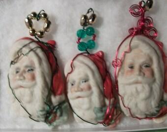 PORCELAIN BISQUE HANDPAINTED santa claus ornaments