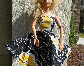 Handmade Barbie Doll Dress ~ Black with Yellow Sun Flower Barbie Doll Dress