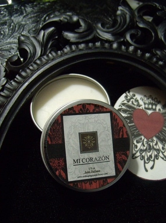 Mi Corazon Natural Solid Perfume Gypsy Apothecary ValentinePerfume ,Frangipani Absolute,Vanilla Absolute, Patchouli, Cinnamon Leaf