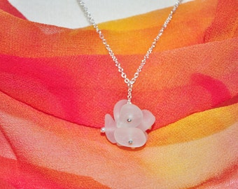 Sea Glass Jewelry Beach Cluster Necklace Sterling in White 7671
