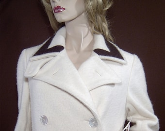 Ralph Lauren cream dark chocolate brown pure cashmere long dressing gown robe Medium - 8 - Made in USA - tall - full length - 1970s 1980s