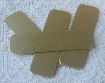 """1/2"""" x 1 & 3/4""""  Brass Blanks Rounded Corners for Stamping , Embossing, Etching Qty 4"""