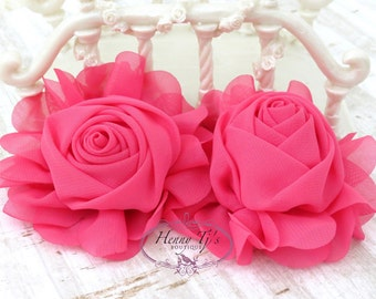 """New: Gladys Collections - HOT PINK 3.75"""" Chiffon Silk Rolled Rosette Rose Fabric Flowers. Wedding Supplies. Hair Applique. Headband FlowerS"""