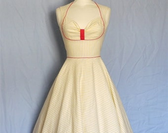 Yellow and White Striped Cotton Bustier Dress- Made by Dig For Victory